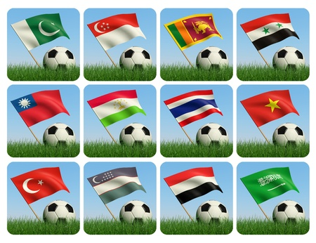 Soccer ball in the grass and the flag against the blue sky. Asian flags. 3d photo