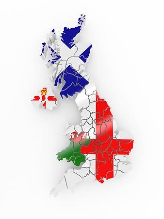 Map of Great Britaine in national flag colors. 3d photo