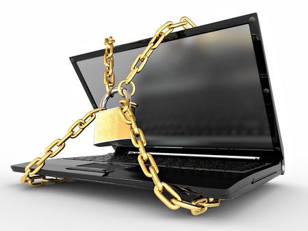Laptop with chains and lock on white isolated background. 3d Stock Photo - 9022454