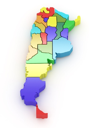 map of argentina: Three-dimensional map of Argentina on white isolated background. 3d