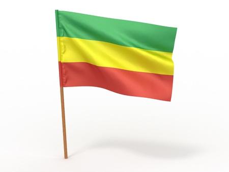 territorial: flag fluttering in the wind. Ethiopia. 3d