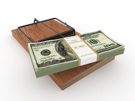 Mousetrap with dollar on white isolated background. 3d Stock Photo - 9022423