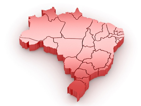 Three-dimensional map of Brazil on white isolated background. 3d Stock Photo - 9022409