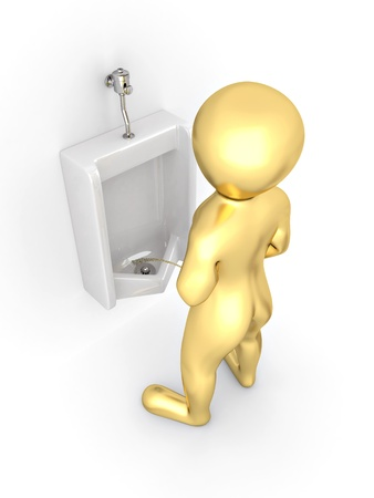 mensroom: Men with urinal ob white isolated background. 3d