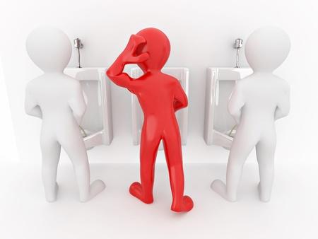 latrina: Gli uomini con orinatoio ob bianco isolato sfondo. 3D Archivio Fotografico