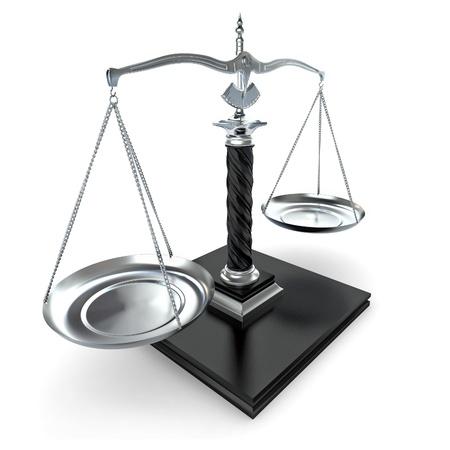 trial balance: S�mbolo de la justicia. Escalar sobre fondo blanco aislado. 3D