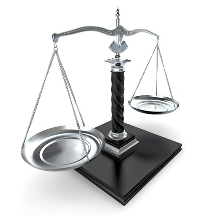 Symbol of justice. Scale on white isolated background. 3d photo