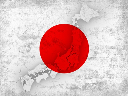 Dirty Japanese flag with map of Japan. 3d Stock Photo - 9069202