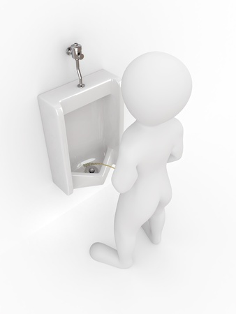 Men with urinal ob white isolated background. 3d photo