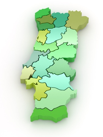portugal: Three-dimensional map of Portugal on white isolated background. 3d