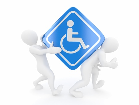 Two men with sign wheelchair on white isolated background. 3d