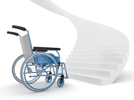 obstacle course: Wheelchair and stairs on white background. Difficult decision. 3d Stock Photo