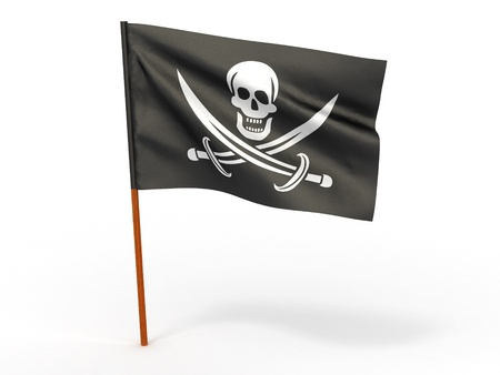 pirate flag: Holly Rojer flag on white isolated background. 3d