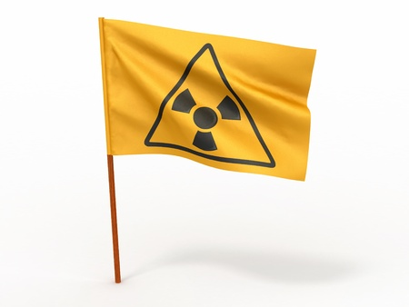 Flag with simbol of radiation on white isolated background. 3d Stock Photo - 9083287