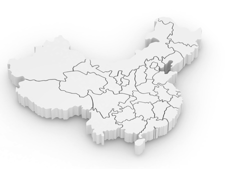 extruded: Three-dimensional map of China on white isolated background. 3d