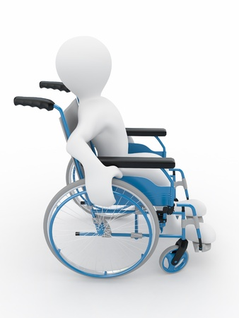 Men on wheelchair on white isolated background. 3d Stock Photo - 9083256