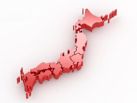 extruded: Mappa del Giappone su sfondo bianco isolato. 3D