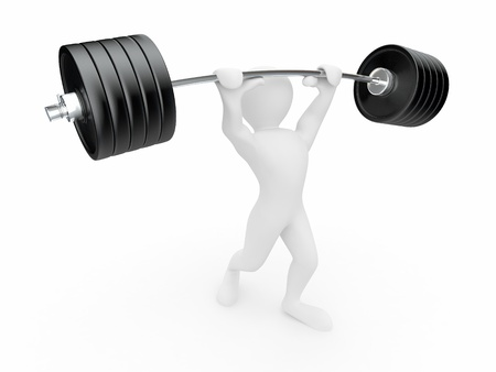 weightlifting: Men with barbell on white isolated background. 3d Stock Photo