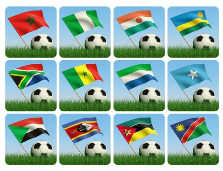 Soccer ball in the grass and the flag against the blue sky. African flags. 3d photo