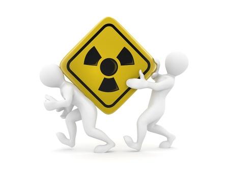 uranium: Two men with simbol of radiation. 3d Stock Photo