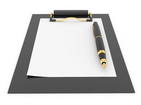 Pen on clipboard. Empty sheet of paper. 3d Stock Photo - 9148341