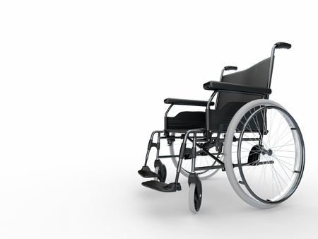 medicine wheel: Empty wheelchair on white isolated background. 3d
