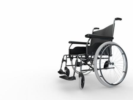 paraplegic: Lege rolstoel op witte geïsoleerde achtergrond. 3D Stockfoto