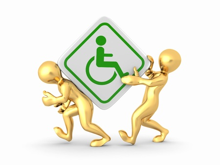 disabled access: Two men with sign wheelchair on white isolated background. 3d Stock Photo