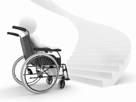 physical impairment: Men with wheelchair and stairs. Difficult decision. 3d