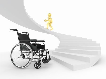 Men with wheelchair and stairs. Difficult decision. 3d Stock Photo - 9148344