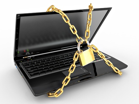 Laptop with chains and lock on white isolated background. 3d Stock Photo - 9148367