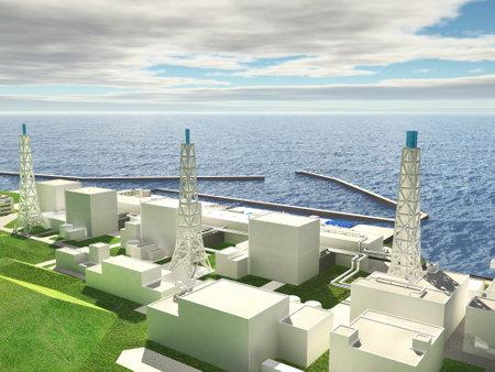 Mise en page en trois dimensions de la centrale nucléaire de Fukushima. 3D