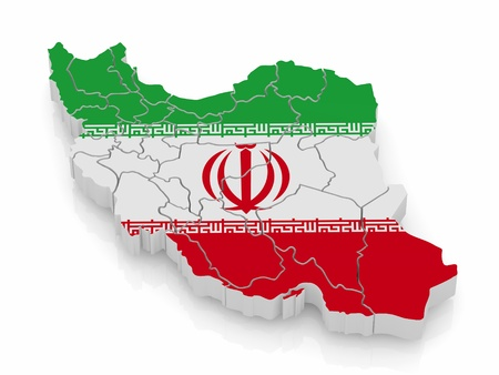 iranian: Map of Iran in Iranian flag colors. 3d