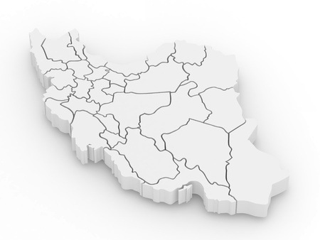 Three-dimensional map of Iran on white isolated background. 3d Stock Photo - 9148301