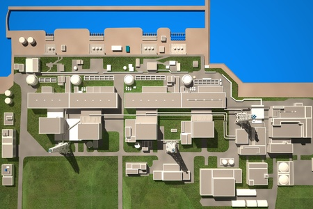 Three-dimensional layout of Fukushima nuclear plant. 3d photo
