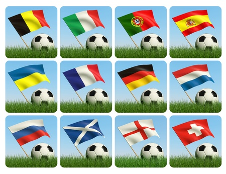 Soccer ball in the grass and the flag against the blue sky. European flags. 3d photo