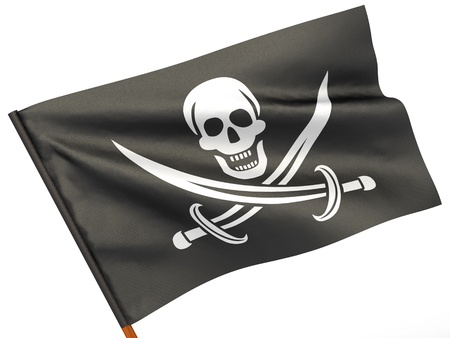jolly roger pirate flag: Holly Rojer flag on white isolated background. 3d