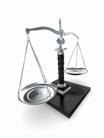Symbol of justice. Scale on white isolated background. 3d Stock Photo - 9148352