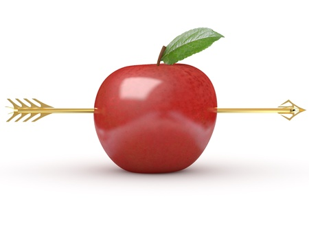 Arrow through apple on white isolated background. 3d