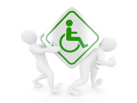 Two men with sign wheelchair on white isolated background. 3d photo