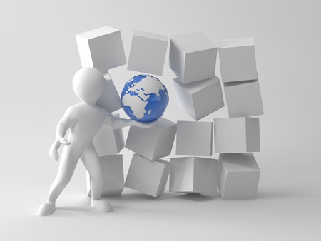 Concepts of uniqueness our Earth. Men with earth in boxes. 3d Stock Photo - 9203442