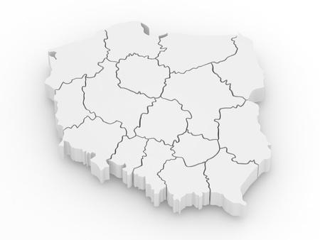 extruded: Mappa tridimensionale della Polonia su sfondo bianco isolato. 3D