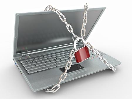 hacking: Portatile con catene e blocco su sfondo bianco isolato. 3D Archivio Fotografico