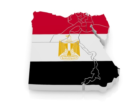 extruded: Map of Egypt in egyptian flag colors. 3d Stock Photo