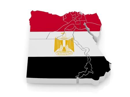 egypt flag: Mapa de Egipto en colores de la bandera egipcia. 3D