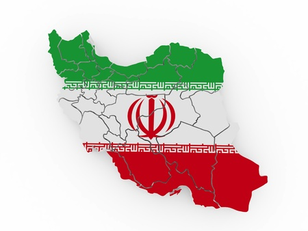 Map of Iran in Iranian flag colors. 3d Stock Photo - 9203414