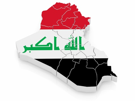 Map of Iraq in Iraqi flag colors. 3d Stock Photo - 9203401