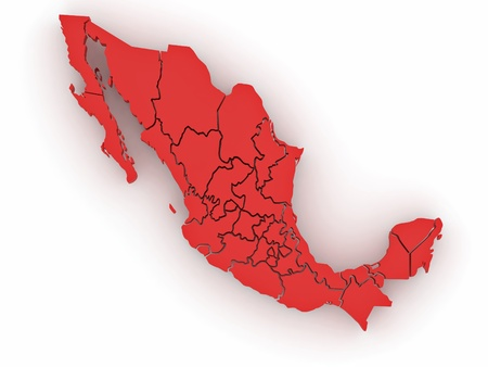 Three-dimensional map of Mexico on white isolated background. 3d Фото со стока