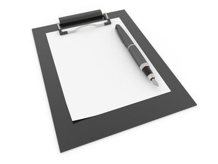 Pen on clipboard. Empty sheet of paper. 3d photo