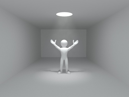 Concepts of freedom. Men and volume light from the hole. 3d photo